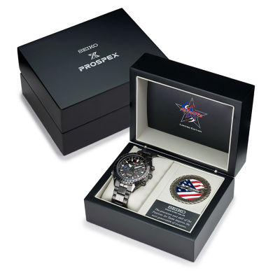 Seiko Mens Patriots Jet Team Limited Edition Prospex Radio Sync Solar Black Bracelet Watch SSG007