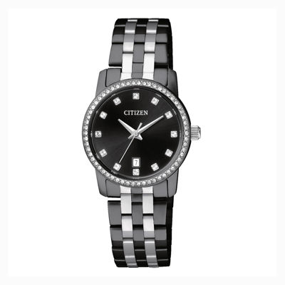 Citizen® Quartz Womens Black And Silver Tone Swarovski Crystal Accent Bracelet Watch Eu6037-57E