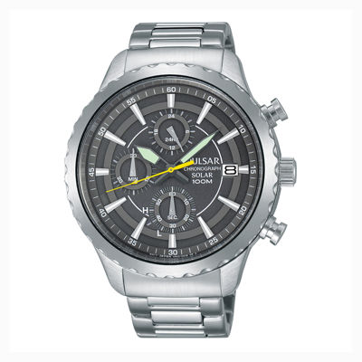 Pulsar® Men'S Silver Tone Gray Dial Solar Chronograph Bracelet Watch Pz6011