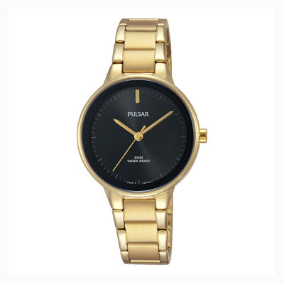 Pulsar Ladies Easy Style Collection Gold Tone with Black Dial and Bezel PSR676
