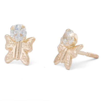 Children's 14K Yellow Gold Cubic Zirconia Butterfly Stud Earrings