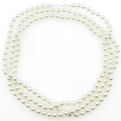Womens 8MM Simulated Pearl Round Strand Necklace