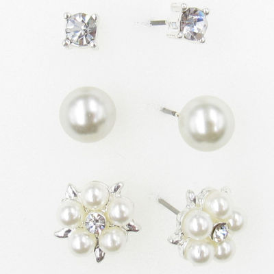 3 Pair Simulated Pearl Earring Set