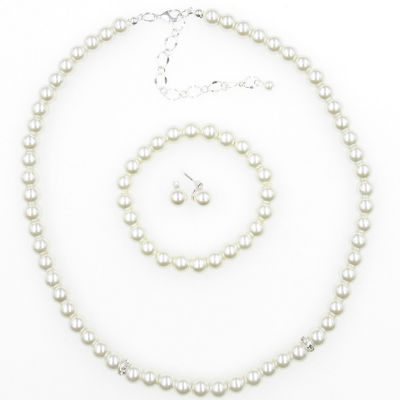 Womens Simulated Pearl Silver Tone Round 3-pc. Jewelry Set