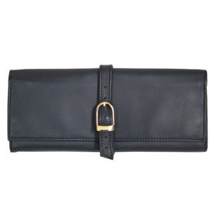 Genuine Leather 3-Pocket Roll Jewelry Travel Case