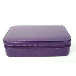 Aristo Bonded Leather Zippered Jewelry Travel Case