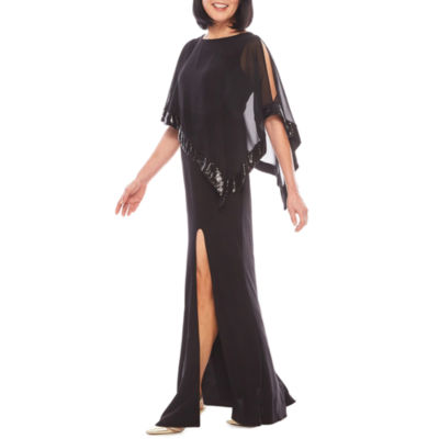 R&M Richards Sequin-Trim Formal Cape Gown