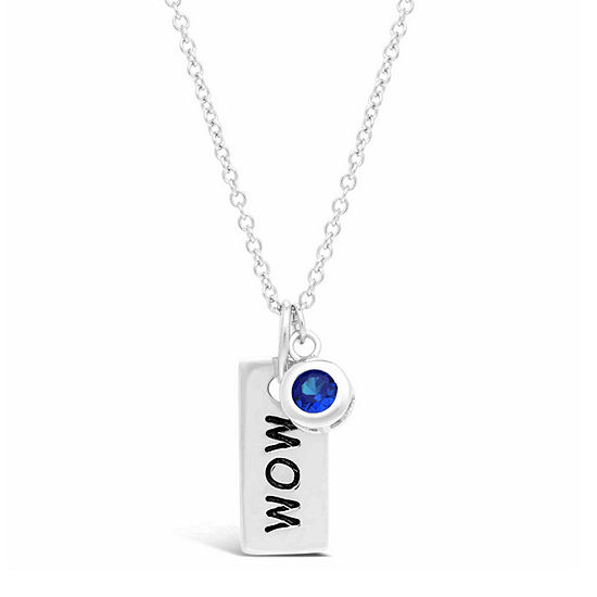 Womens Lab Created Blue Sapphire Sterling Silver Dog Tag Pendant Necklace