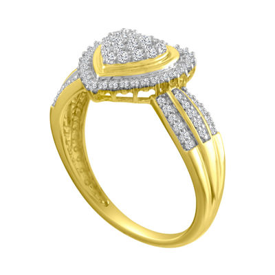 Womens 1/3 CT. T.W. Genuine White Diamond 10K Gold Heart Cocktail Ring