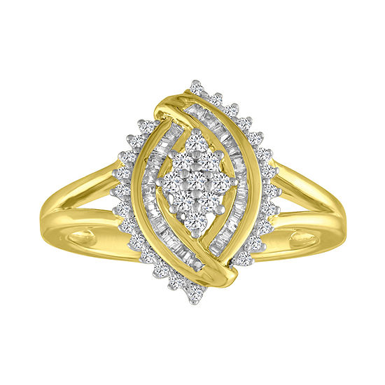 Womens 1/3 CT. T.W. Genuine White Diamond 10K Gold Cluster Cocktail Ring