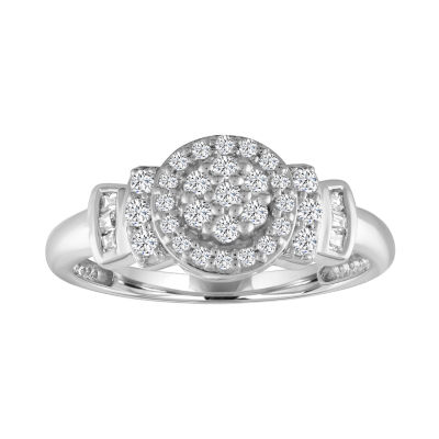 Diamond Blossom Womens 1/3 CT. T.W. Genuine White Diamond 10K Gold Cluster Cocktail Ring