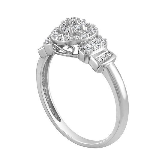 Diamond Blossom Womens 1/3 CT. T.W. Genuine White Diamond 10K Gold Cluster Cocktail Ring