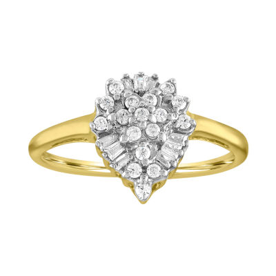 Womens 1/4 CT. T.W. Genuine Diamond 10K Gold Cocktail Ring