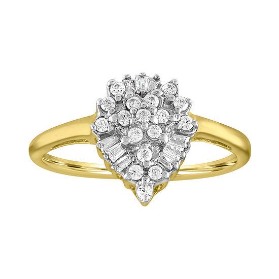 Womens 1/4 CT. T.W. Genuine Diamond 10K Gold Cocktail Ring