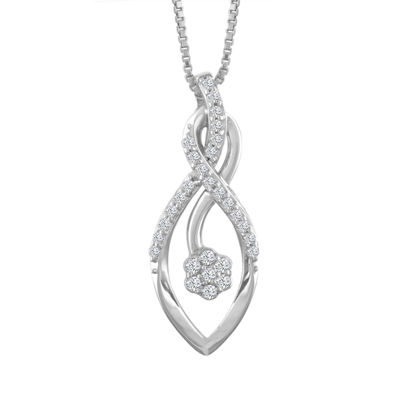 Diamond Blossom Womens 1/7 CT. T.W. Genuine White Diamond 10K Gold Pendant Necklace