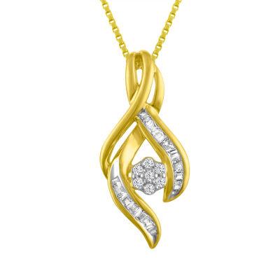 Diamond Blossom Womens 1/7 CT. T.W. Genuine White Diamond 10K Gold Pendant Necklace