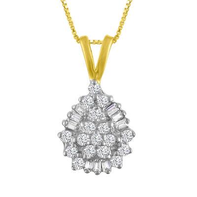 Womens 1/4 CT. T.W. Genuine Diamond 10K Gold Pendant Necklace