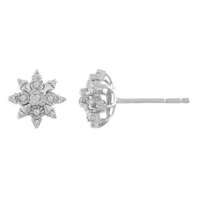 Diamond Accent Genuine White Diamond 10K White Gold 9.2mm Stud Earrings