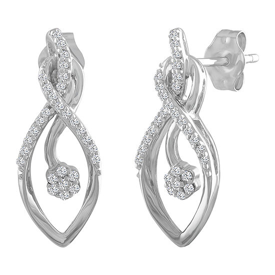 Diamond Blossom 1/7 CT. T.W. Genuine White Diamond 10K Gold Drop Earrings