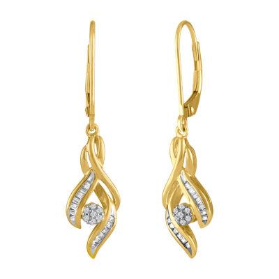 Diamond Blossom 1/7 CT. T.W. Genuine White Diamond 10K Gold Drop Earrings