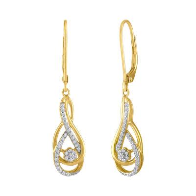 Diamond Blossom 1/7 CT. T.W. White Diamond 10K Gold Drop Earrings