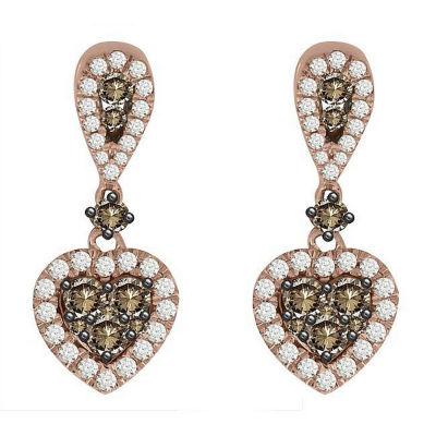 7/8 CT. T.W. Chapagne & White Diamond 10K Rose Gold Drop Earrings