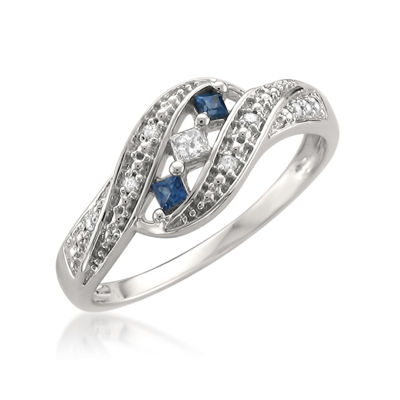 Womens 1/5 CT. T.W. Genuine White Diamond & Genuine Sapphire 14K Gold Wedding Band