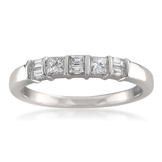 Womens 2MM 3/8 CT. T.W. Genuine White Diamond 14K Gold Wedding Band