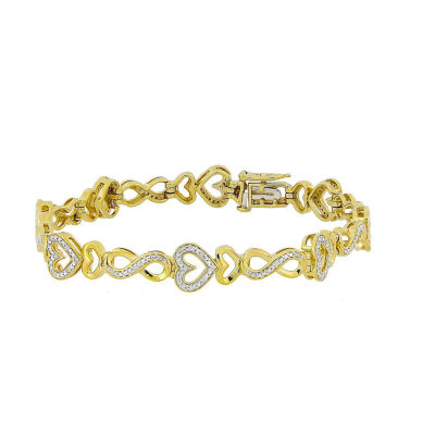 Womens 1/5 CT. T.W. White Diamond 10K Gold Over Silver Tennis Bracelet