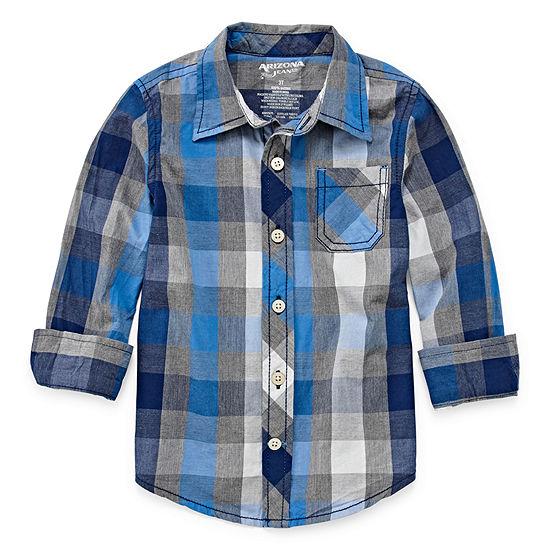 Arizona Boys Long Sleeve Button-Front Shirt Toddler