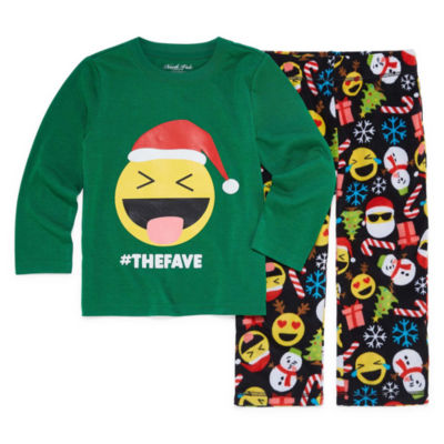 North Pole Trading Co. Merry Textmas Microfleece Family Pajama Set- Toddler Boys