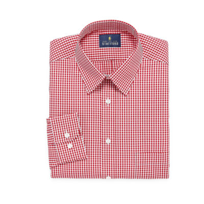 Stafford Travel Performance Super Shirt Long Sleeve Broadcloth Checked Dress Shirt