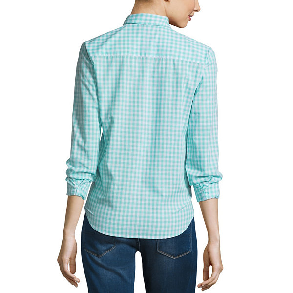 Us Polo Assn. Loose Fit Long Sleeve Button-Front Shirt-Juniors