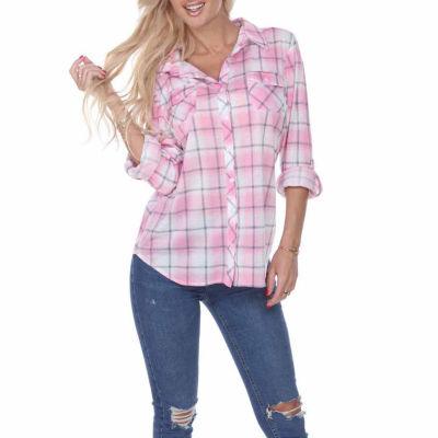 White Mark Oakley Plaid Womens Button-Front Shirt