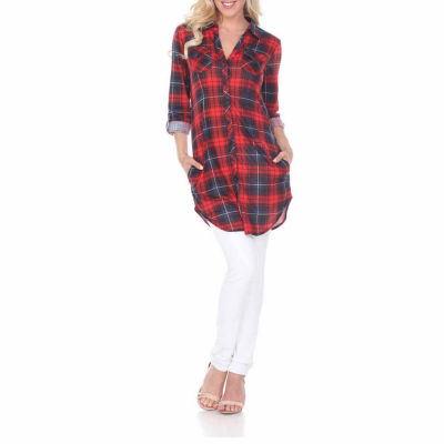 White Mark Piper Plaid Tunic Top