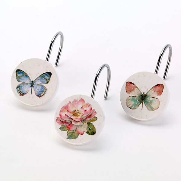 Avanti Butterfly Garden Shower Curtain Hooks