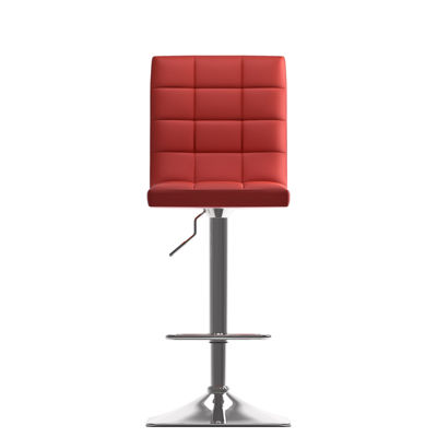 Bonded Leather And Chrome Adjustable Bar Stool
