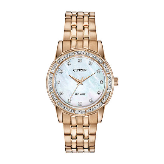 Citizen Silhouette Crystal Womens Crystal Accent Rose Goldtone Stainless Steel Bracelet Watch-Em0773-54d