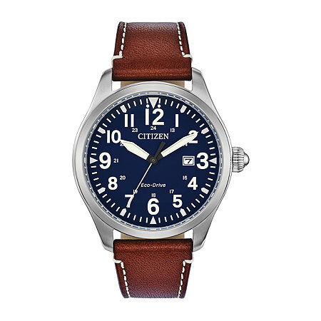 Citizen Chandler Mens Brown Leather Strap Watch Bm6838-17l, One Size