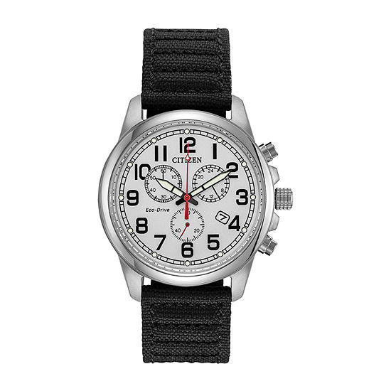 Citizen Military Mens Chronograph Black Strap Watch-At0200-13a