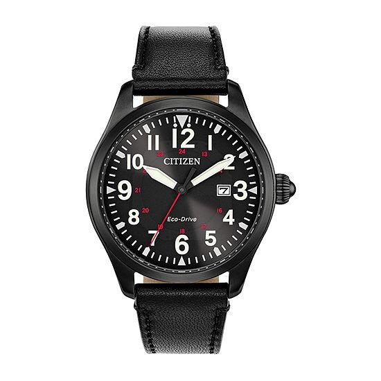 Citizen Chandler Mens Black Leather Strap Watch-Bm6835-15e