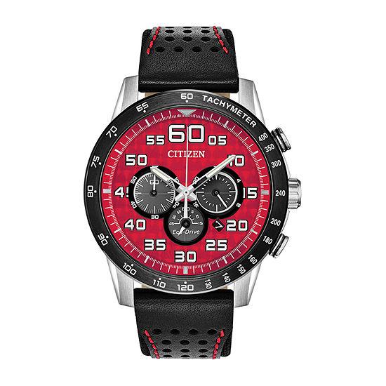 Citizen Primo Mens Chronograph Black Leather Strap Watch-Ca4430-01x