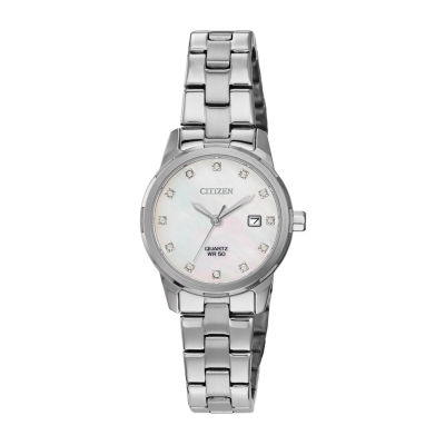 Citizen Womens Crystal Accent Silver Tone Stainless Steel Bracelet Watch Eu6070-51y