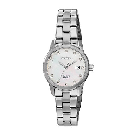 Citizen Womens Crystal Accent Silver Tone Stainless Steel Bracelet Watch - Eu6070-51y, One Size
