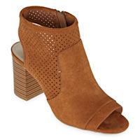 A.N.A Womens Tasha Zip Peep Toe Block Heel Booties Deals