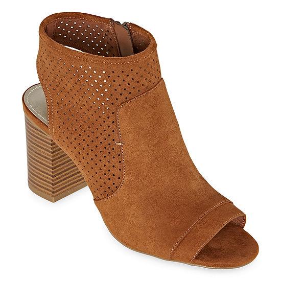 a.n.a Womens Tasha Zip Peep Toe Block Heel Booties