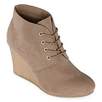 Deals on Arizona Womens Lawrence Booties Wedge Heel