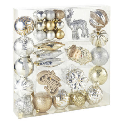North Pole Trading Co. Silver & Gold Boxed 50-Pc. Set Ornament