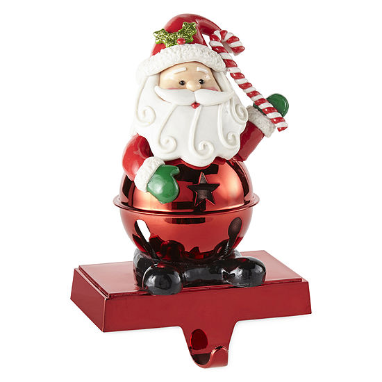 North Pole Trading Co. Led Santa Bell Stocking Holder