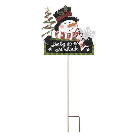 "North Pole Trading Co. ""Cold Outside"" Snowman Yardstake Yard Stake"